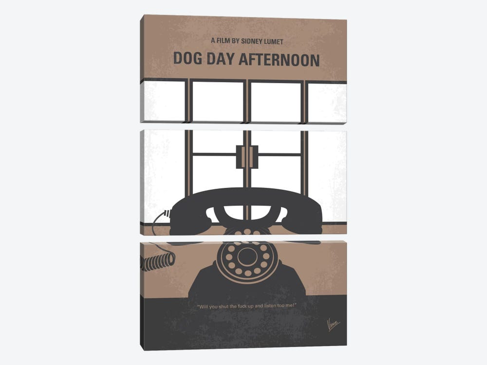 Dog Day Afternoon Minimal Movie Poster 3-piece Canvas Art