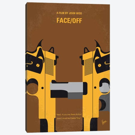 Face/Off Minimal Movie Poster Canvas Print #CKG533} by Chungkong Art Print