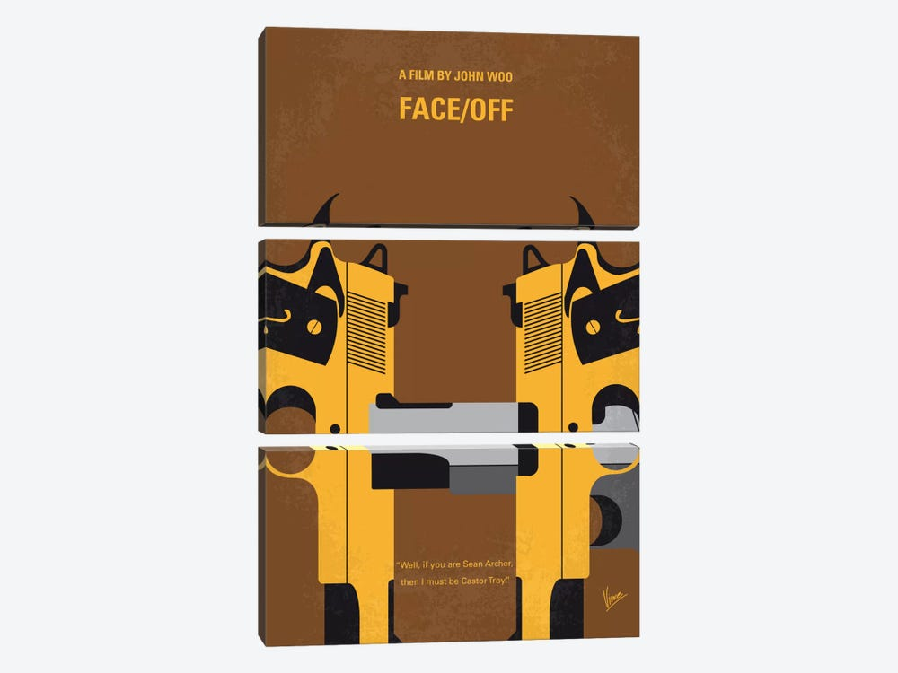 Face/Off Minimal Movie Poster by Chungkong 3-piece Canvas Print