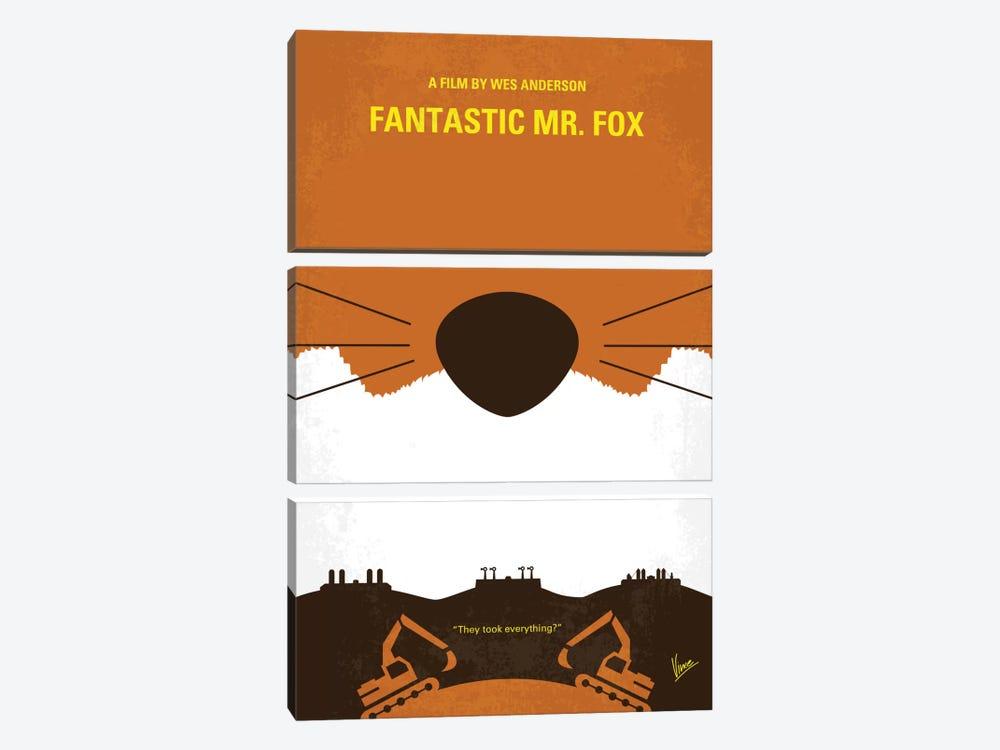 Fantastic Mr. Fox Minimal Movie Poster by Chungkong 3-piece Canvas Wall Art