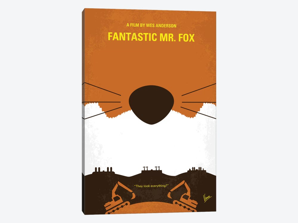 Fantastic Mr. Fox Minimal Movie Poster by Chungkong 1-piece Canvas Wall Art