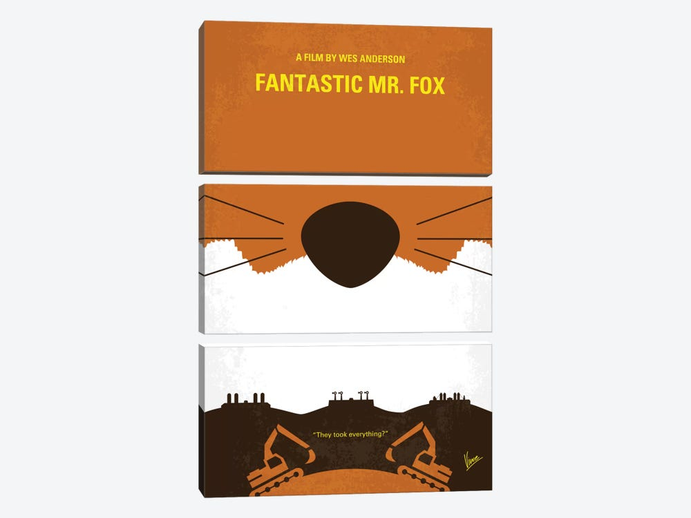 Fantastic Mr. Fox Minimal Movie Poster by Chungkong 3-piece Canvas Wall Art