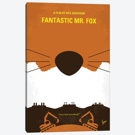 Fantastic Mr. Fox Minimal Movie Poster 3-Piece Canvas #CKG536} by Chungkong Canvas Wall Art