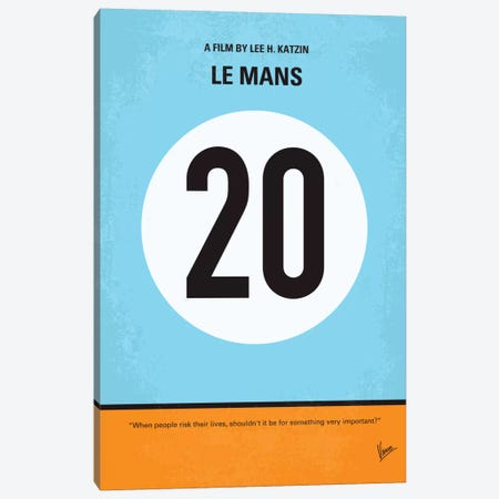 Le Mans Minimal Movie Poster Canvas Print #CKG53} by Chungkong Canvas Art