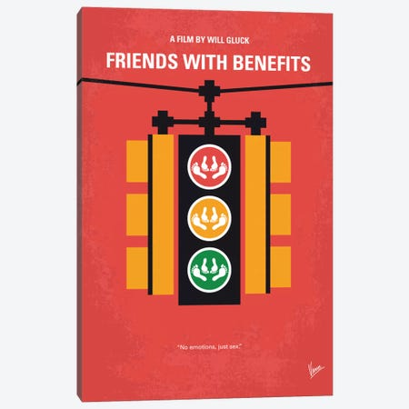 Friends With Benefits Minimal Movie Poster 3-Piece Canvas #CKG542} by Chungkong Canvas Artwork