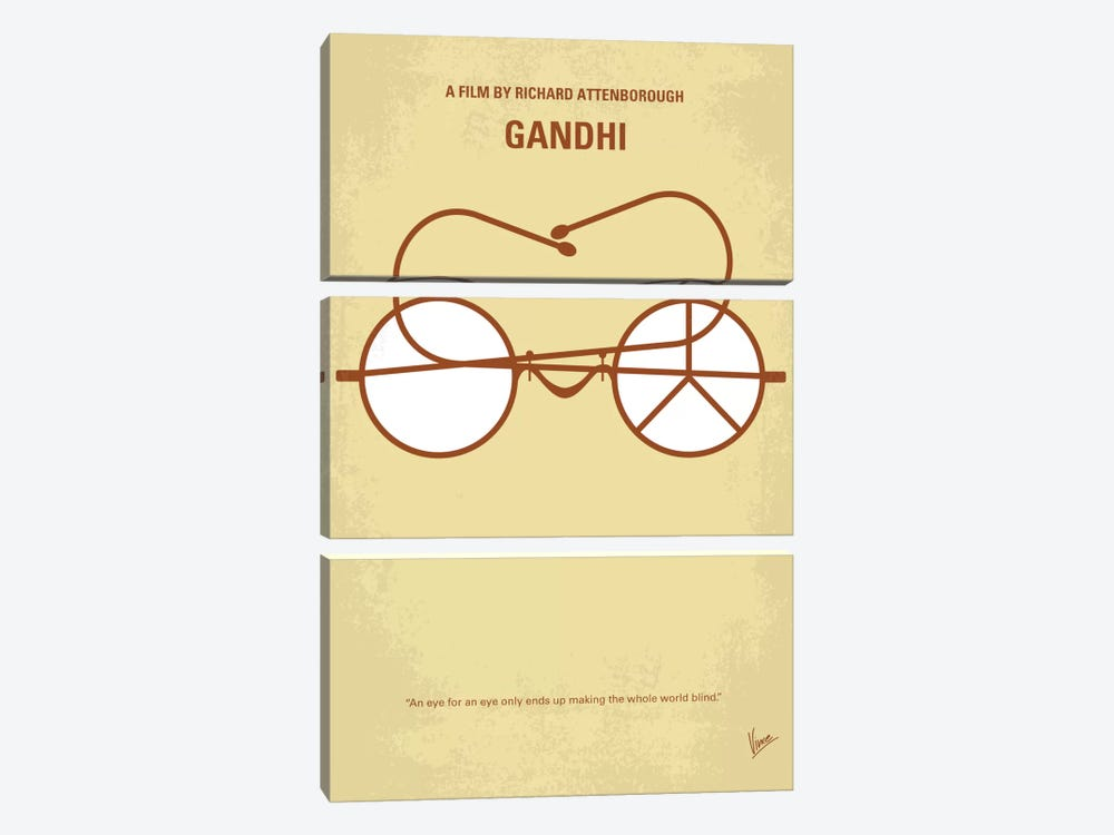 Gandhi Minimal Movie Poster by Chungkong 3-piece Canvas Art Print