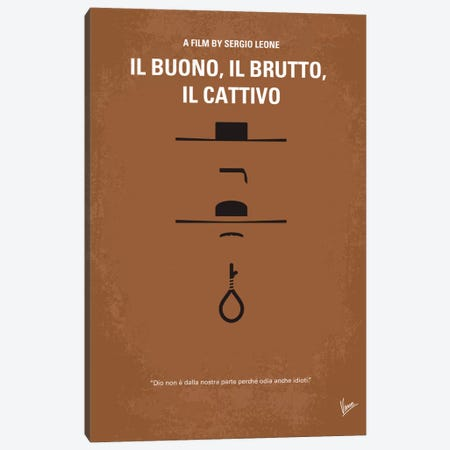Il Buono Il Brutto Il Cattivo Minimal Movie Poster Canvas Print #CKG56} by Chungkong Art Print