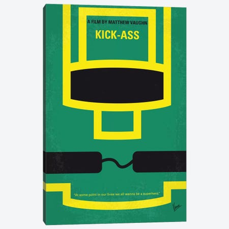 Kick-Ass Minimal Movie Poster Canvas Print #CKG570} by Chungkong Canvas Print