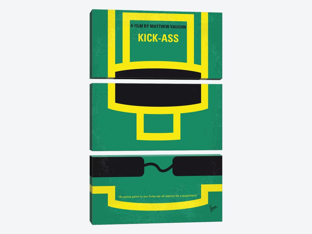 Kick-Ass Minimal Movie Poster by Chungkong 3-piece Canvas Art