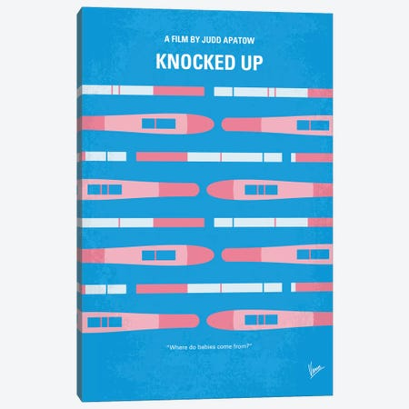 Knocked Up Minimal Movie Poster Canvas Print #CKG571} by Chungkong Canvas Art Print