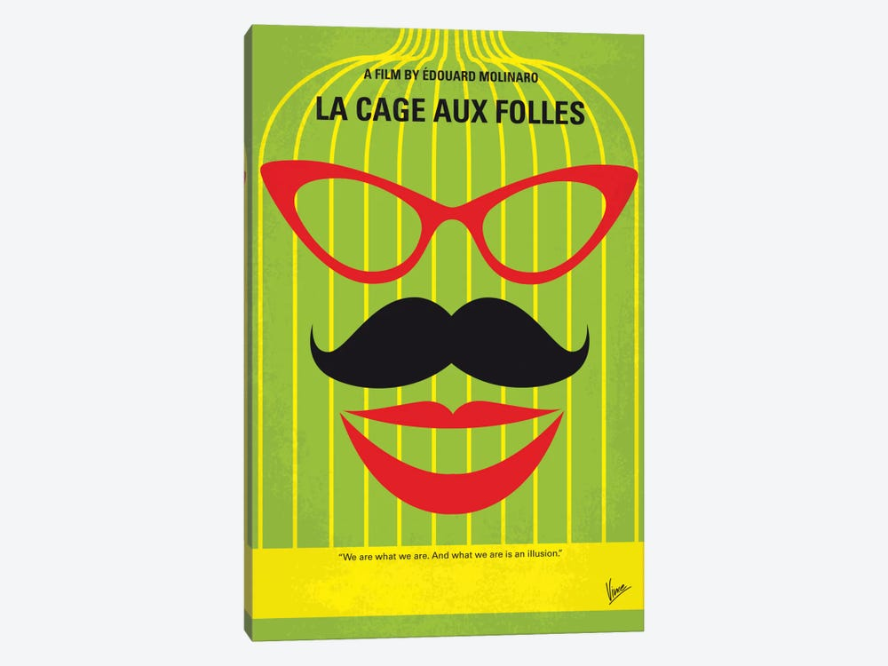 La Cage Aux Folles Minimal Movie Poster by Chungkong 1-piece Canvas Wall Art