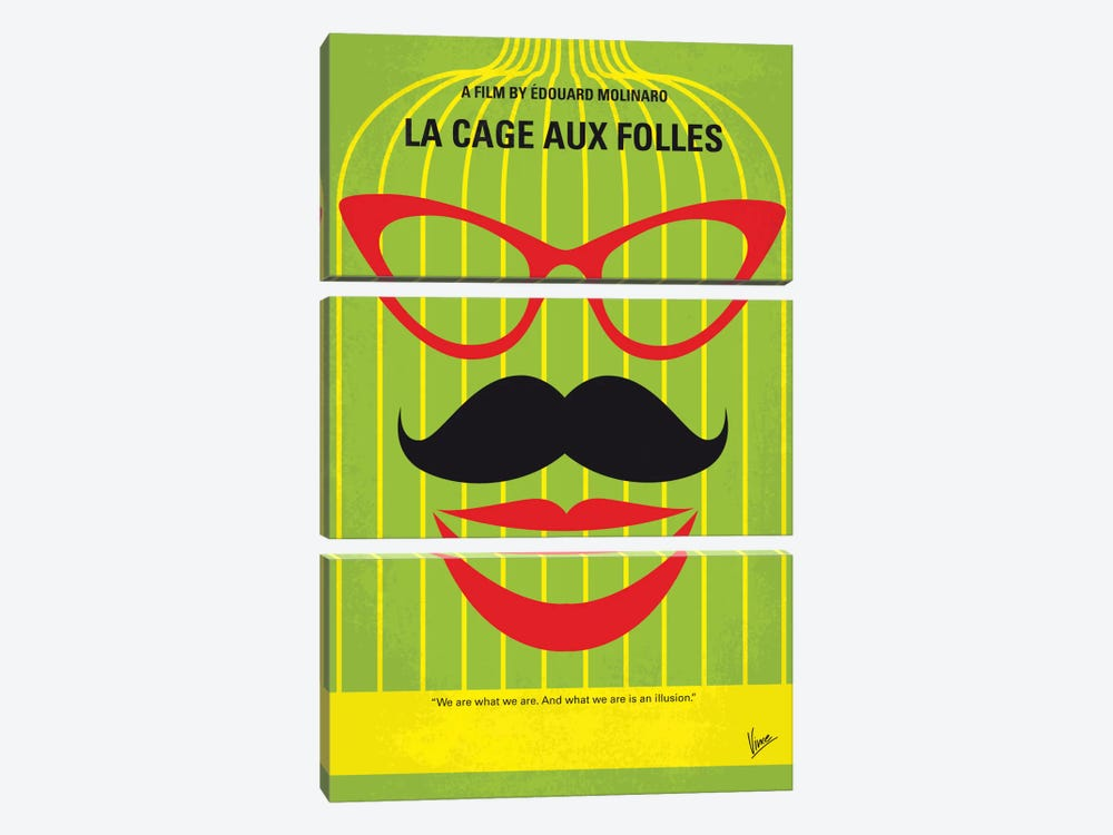 La Cage Aux Folles Minimal Movie Poster by Chungkong 3-piece Canvas Art