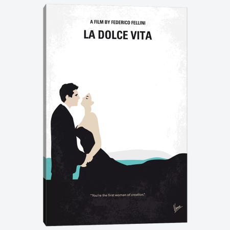 La Dolce Vita Minimal Movie Poster Canvas Print #CKG573} by Chungkong Art Print