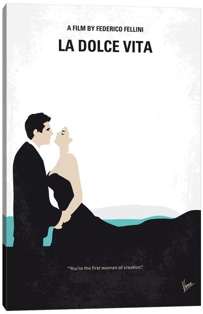 La Dolce Vita Minimal Movie Poster Canvas Art Print