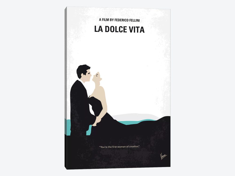 La Dolce Vita Minimal Movie Poster 1-piece Canvas Print