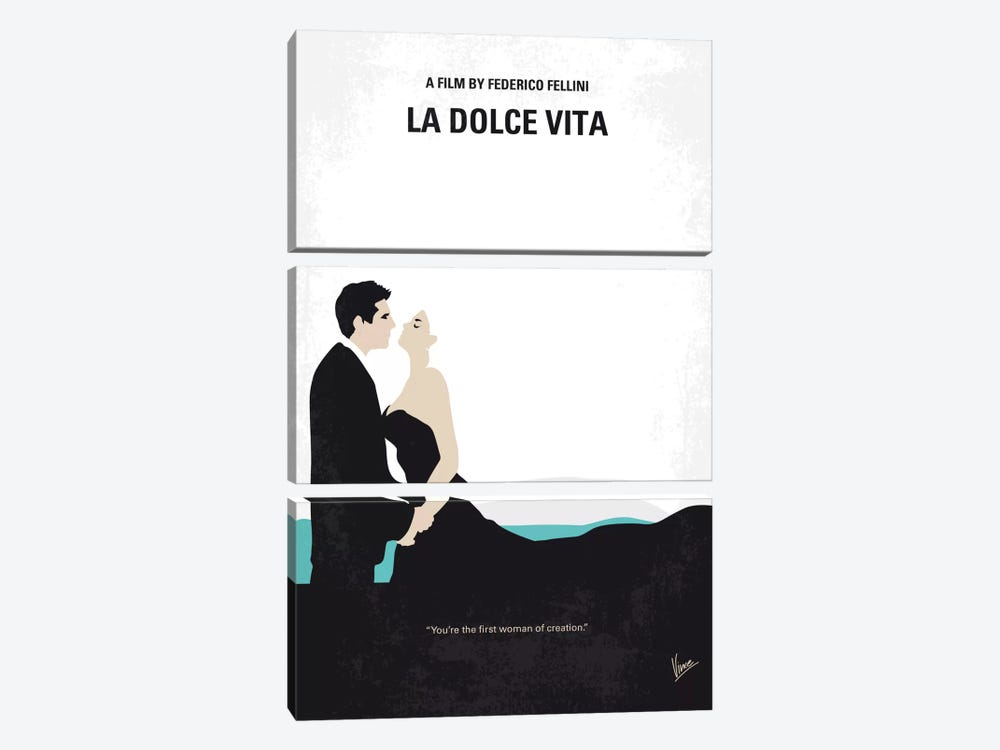 La Dolce Vita Minimal Movie Poster 3-piece Canvas Print