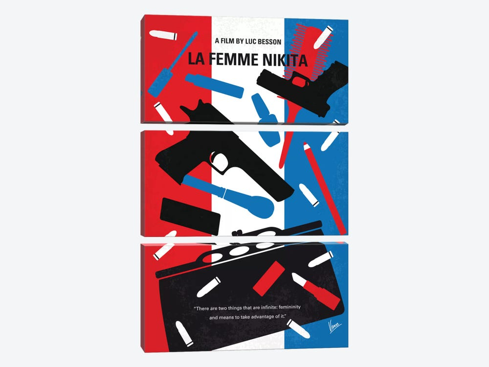 La Femme Nikita Minimal Movie Poster 3-piece Canvas Wall Art