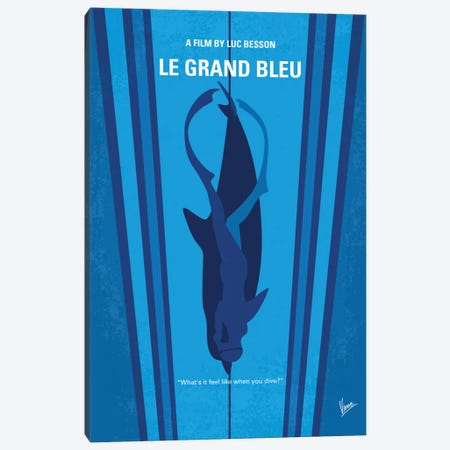 Le Grand Bleu (The Big Blue) Minimal Movie Poster Canvas Print #CKG575} by Chungkong Canvas Art