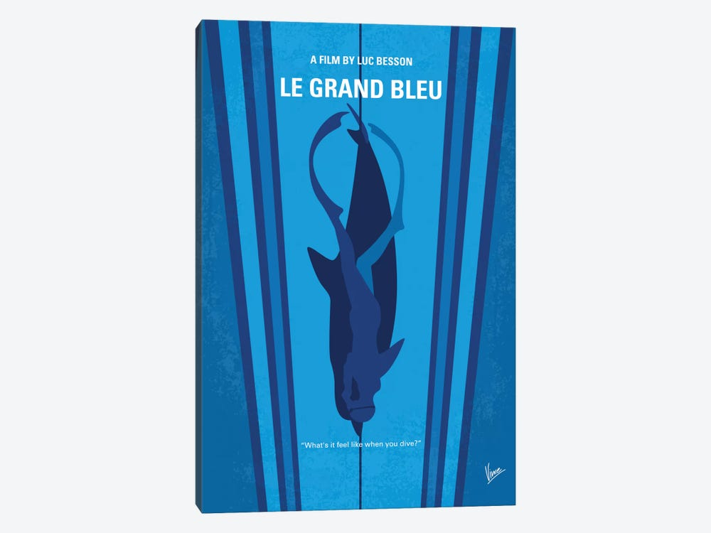 Le Grand Bleu (The Big Blue) Minimal Movie Poster by Chungkong 1-piece Canvas Art Print