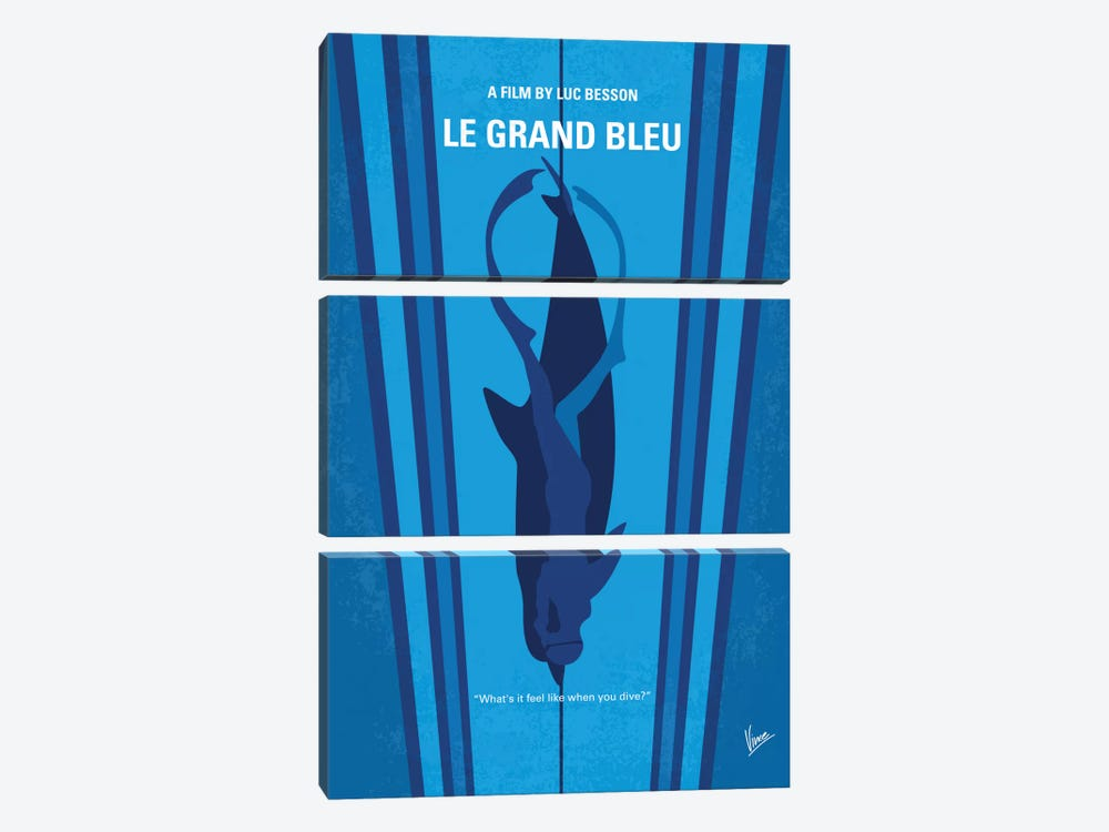 Le Grand Bleu (The Big Blue) Minimal Movie Poster by Chungkong 3-piece Canvas Art Print