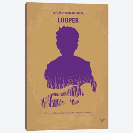 Looper Minimal Movie Poster Canvas Print #CKG576} by Chungkong Canvas Artwork