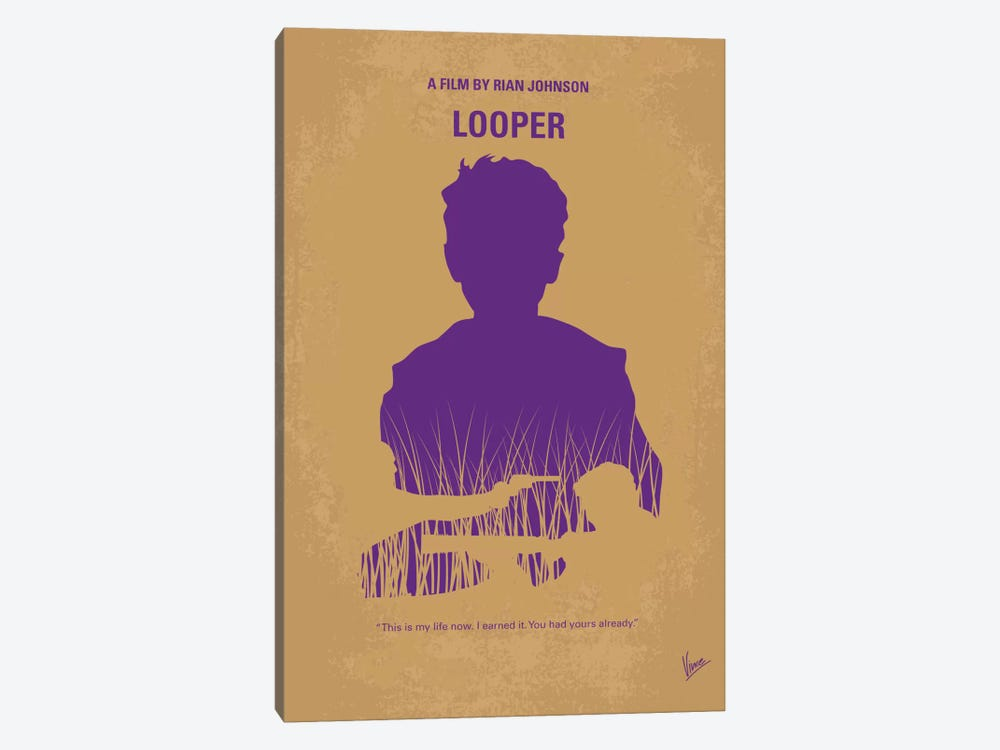 Looper Minimal Movie Poster 1-piece Canvas Art