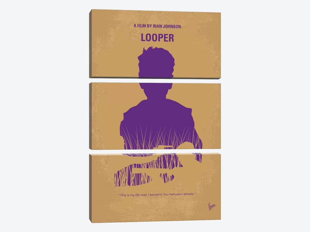 Looper Minimal Movie Poster 3-piece Canvas Artwork