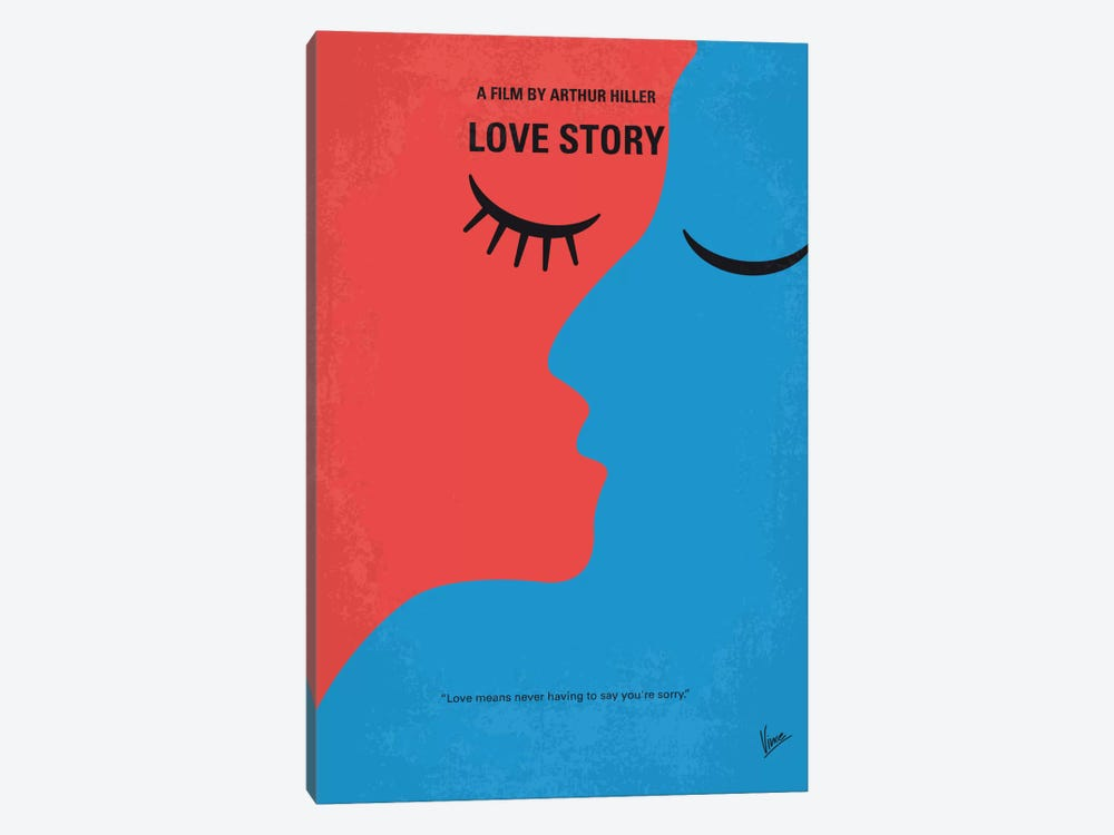 Love Story Minimal Movie Poster by Chungkong 1-piece Canvas Art Print