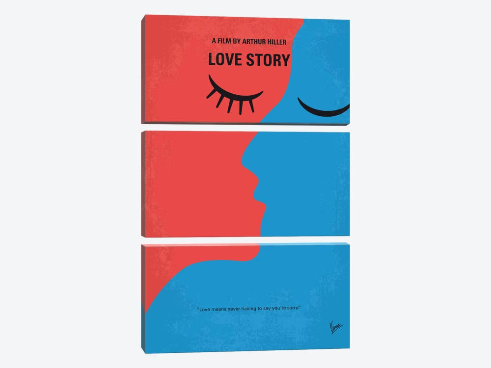 Love Story Minimal Movie Poster by Chungkong 3-piece Canvas Art Print