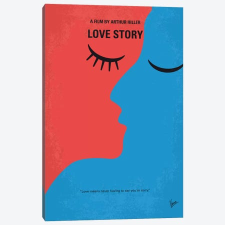 Love Story Minimal Movie Poster Canvas Print #CKG577} by Chungkong Canvas Artwork