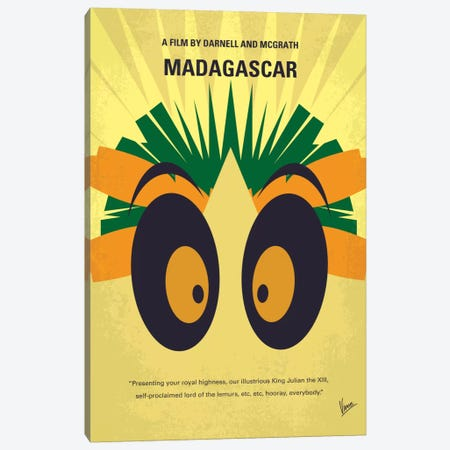 Madagascar Minimal Movie Poster Canvas Print #CKG579} by Chungkong Canvas Print