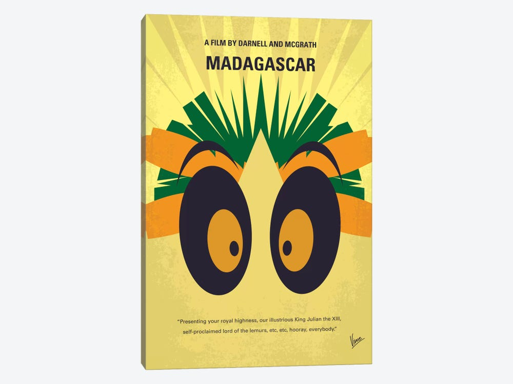 Madagascar Minimal Movie Poster by Chungkong 1-piece Canvas Art Print