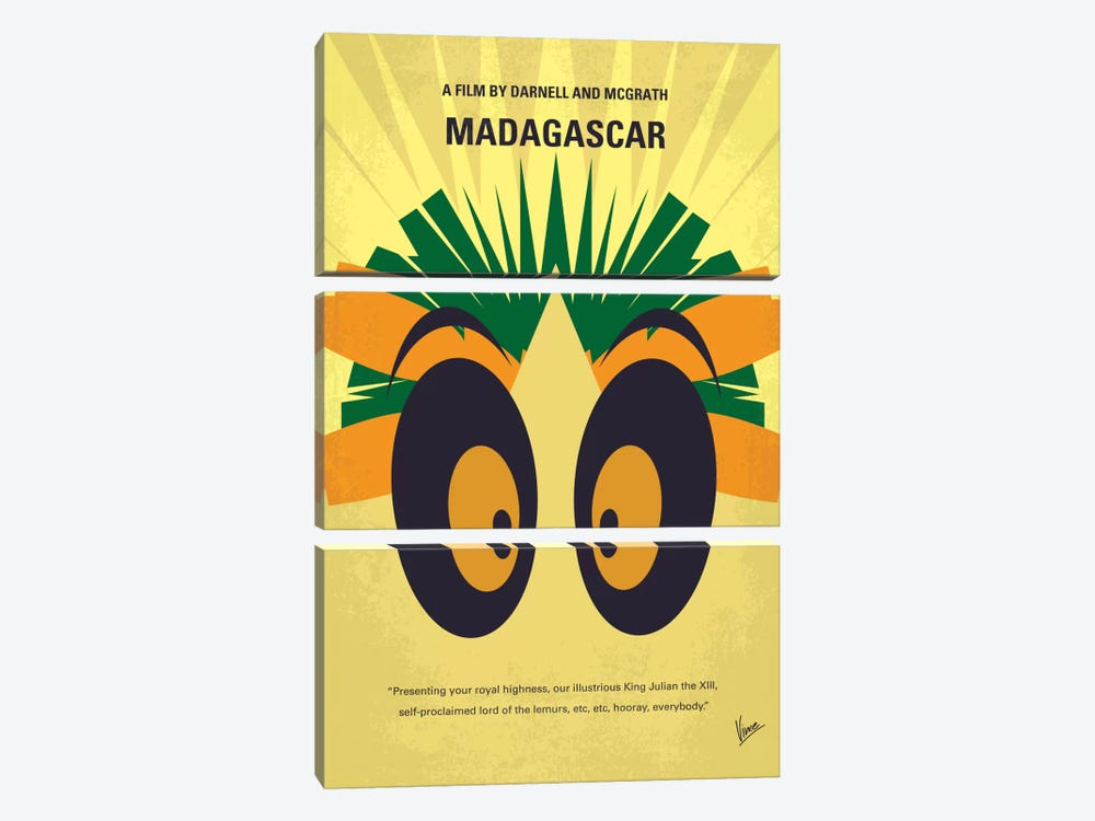 Madagascar Minimal Movie Poster by Chungkong 3-piece Canvas Print