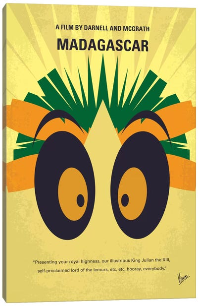 Madagascar Minimal Movie Poster Canvas Art Print