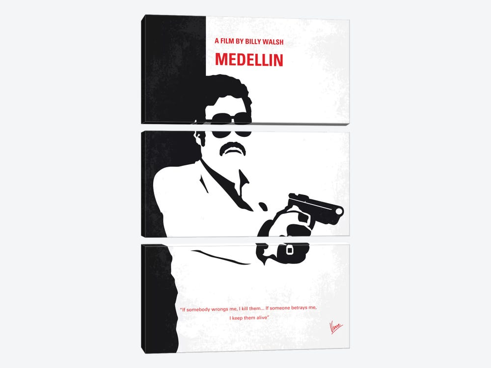 Medellin Minimal Movie Poster by Chungkong 3-piece Canvas Art Print