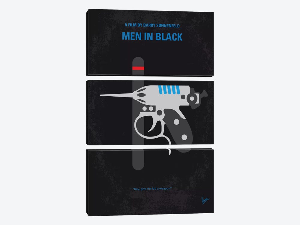 Men In Black Minimal Movie Poster by Chungkong 3-piece Canvas Print