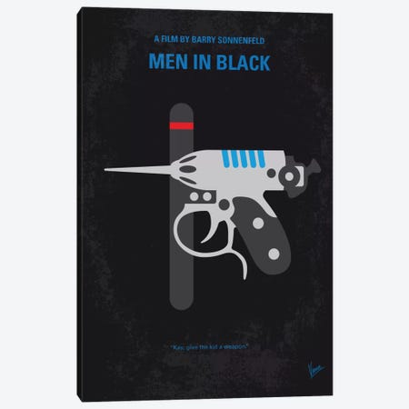 Men In Black Minimal Movie Poster Canvas Print #CKG584} by Chungkong Art Print