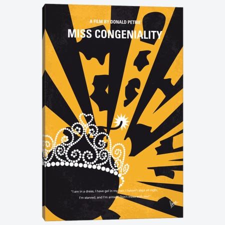 Miss Congeniality Minimal Movie Poster 3-Piece Canvas #CKG586} by Chungkong Canvas Art Print