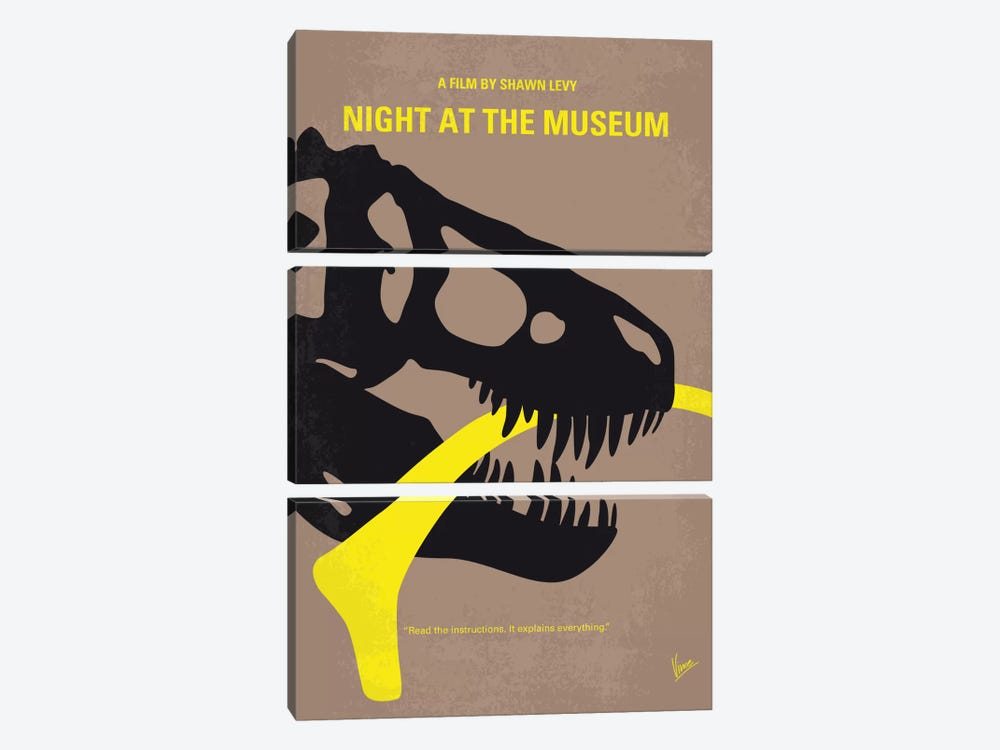 Night At The Museum Minimal Movie Poster by Chungkong 3-piece Canvas Art Print