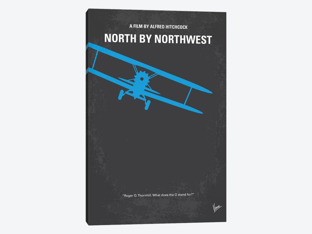 North By Northwest Minimal Movie Poster by Chungkong 1-piece Canvas Wall Art