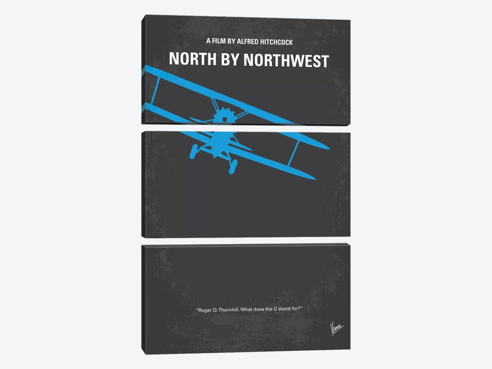North By Northwest Minimal Movie Poster by Chungkong 3-piece Canvas Wall Art