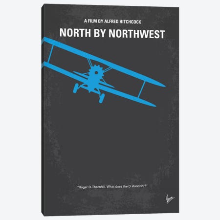 North By Northwest Minimal Movie Poster 3-Piece Canvas #CKG592} by Chungkong Canvas Art Print