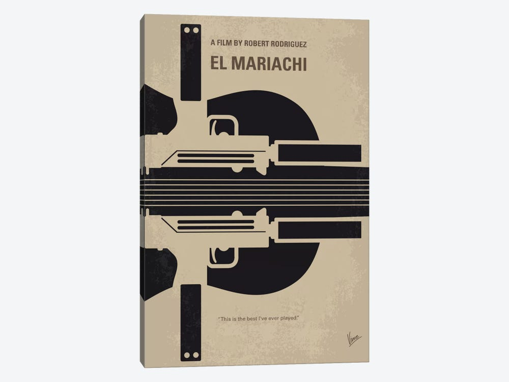 El Mariachi Minimal Movie Poster by Chungkong 1-piece Canvas Wall Art
