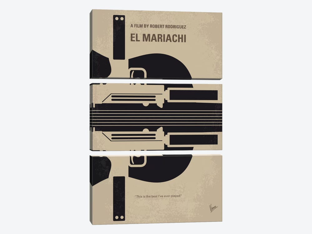 El Mariachi Minimal Movie Poster by Chungkong 3-piece Canvas Art