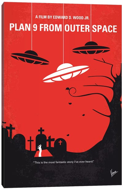 Plan 9 From Outer Space Minimal Movie Poster Canvas Art Print