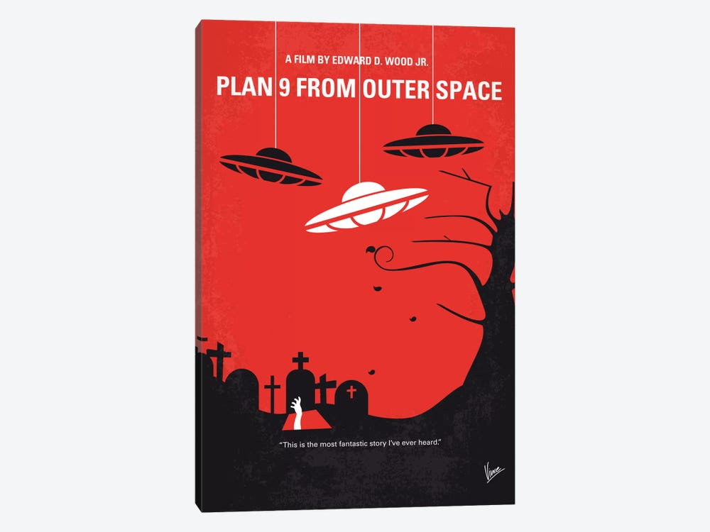 Plan 9 From Outer Space Minimal Movie Poster by Chungkong 1-piece Canvas Art Print