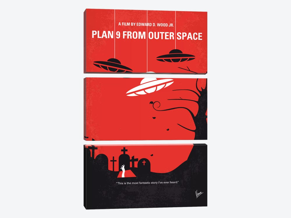 Plan 9 From Outer Space Minimal Movie Poster 3-piece Canvas Art Print