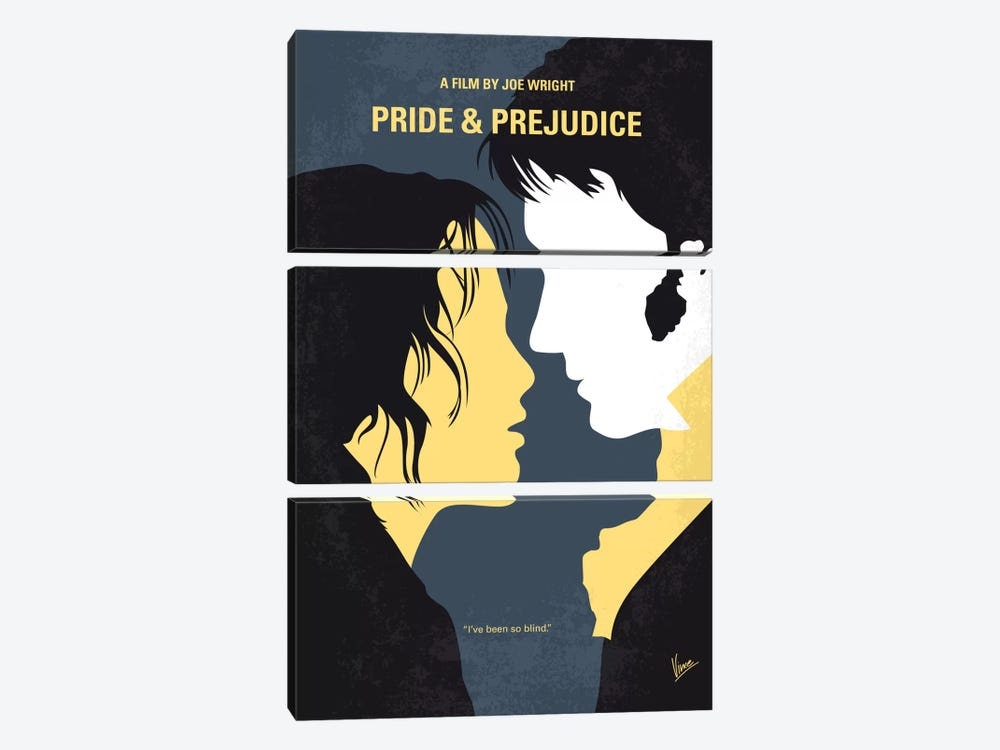 Pride And Prejudice Minimal Movie Poster by Chungkong 3-piece Canvas Art Print