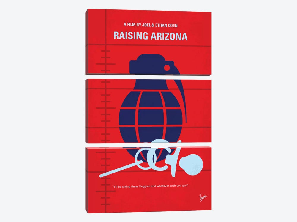Raising Arizona Minimal Movie Poster by Chungkong 3-piece Canvas Print
