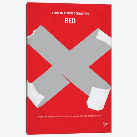 RED Minimal Movie Poster Canvas Print #CKG607} by Chungkong Canvas Artwork